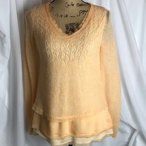 Anthropologie Knitted & Knotted Layered Sweater